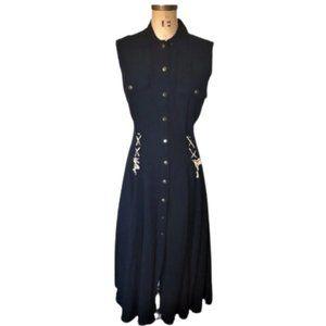 Vintage 90s maxi button down dress